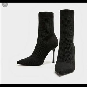 Zara black fabric booties